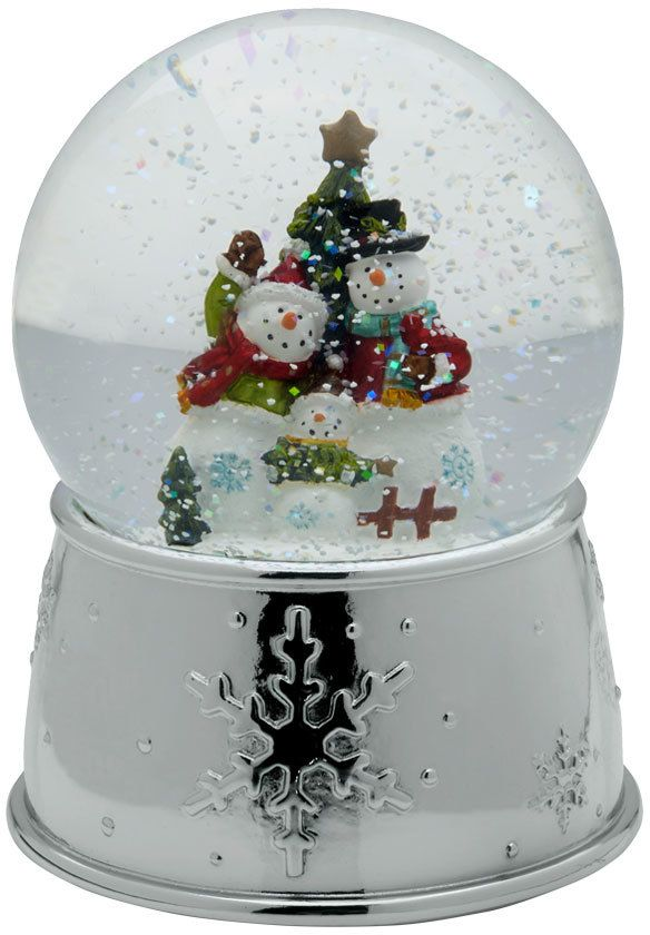 Christmas Snowglobes.Celebrations By Mikasa Snowman Family With Tree Musical