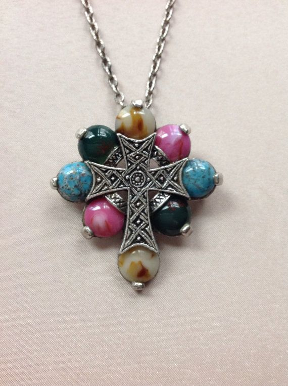 Miracle Celtic Cross Neclace Brooch Pin Faux By ColorsoftheSeasons, $39.00
