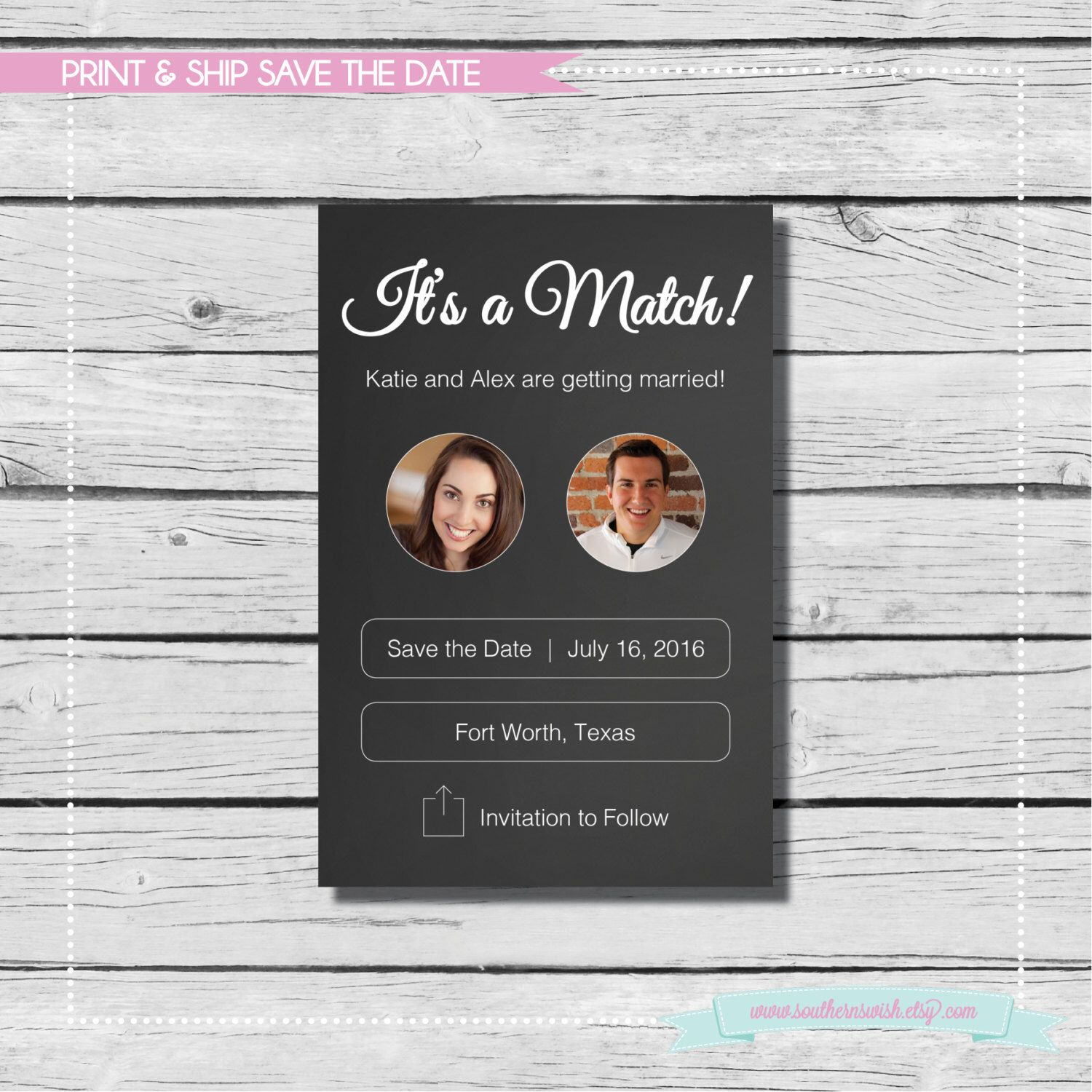 It S A Match Save The Date Tinder Print Ship Wedding Available As Postcard