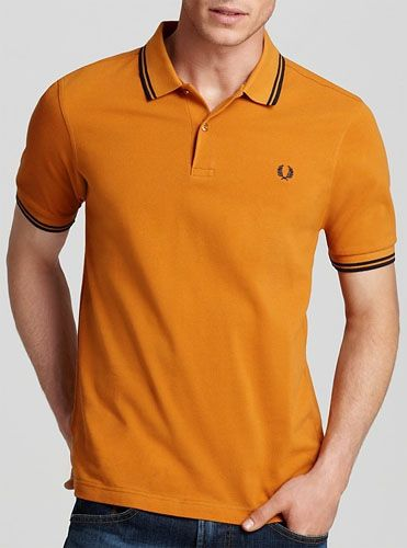 6da632e5 Fred Perry Classic Fit Twin Tipped Polo Shirt- BURNT AMBER/BLACK ...