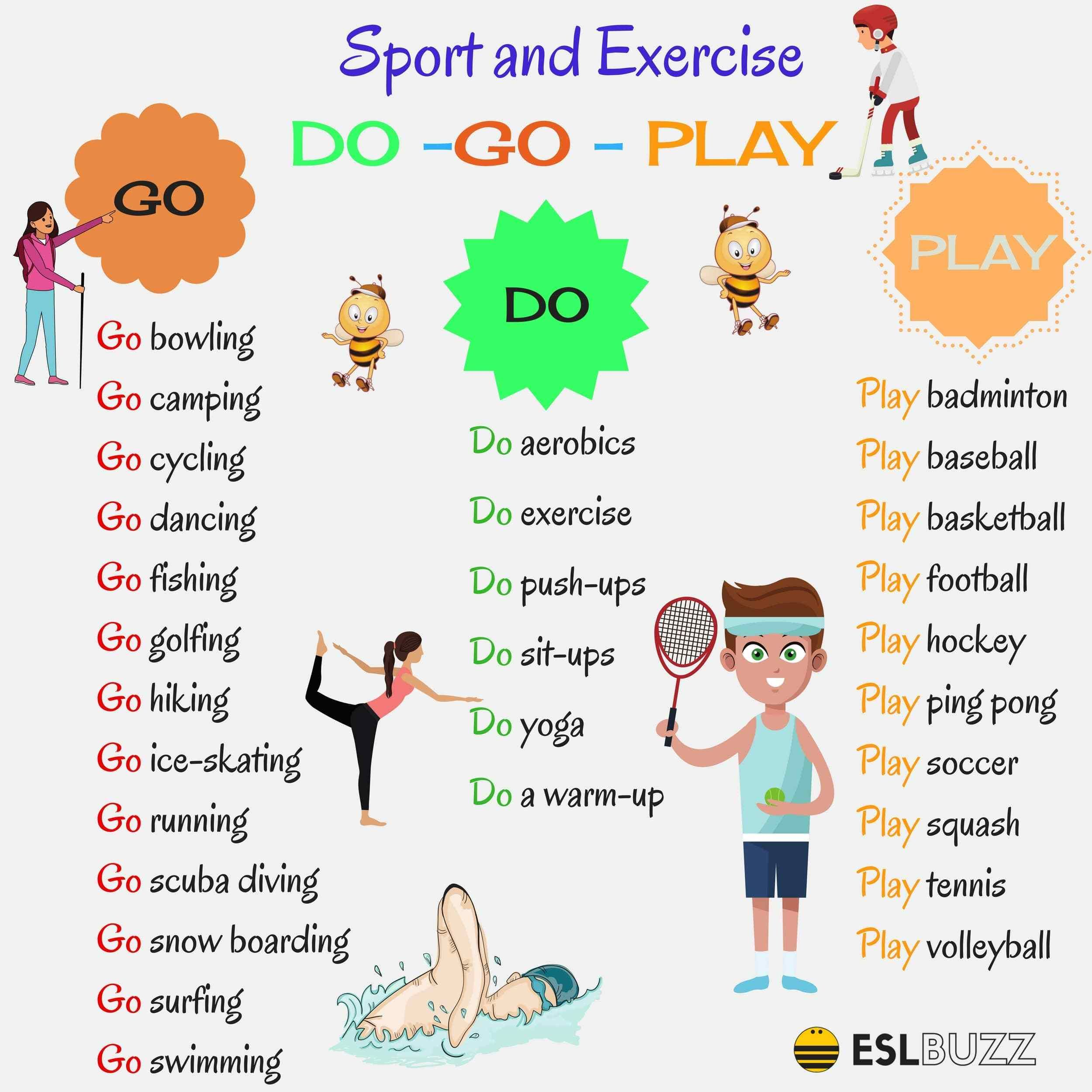 How To Use Do Go And Play With Sports And Activities