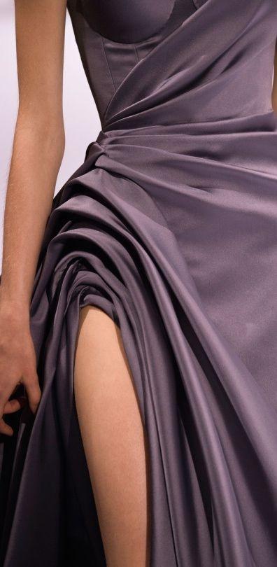 Ralph & Russo Fall 2016 Couture #Aubergine #luxurydotcom #fabricmanipulation