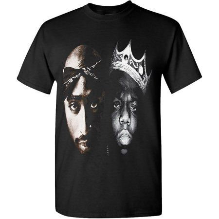 Hip Hop Legends Tupac B I G Rappers Face Solid Fit Graphic T