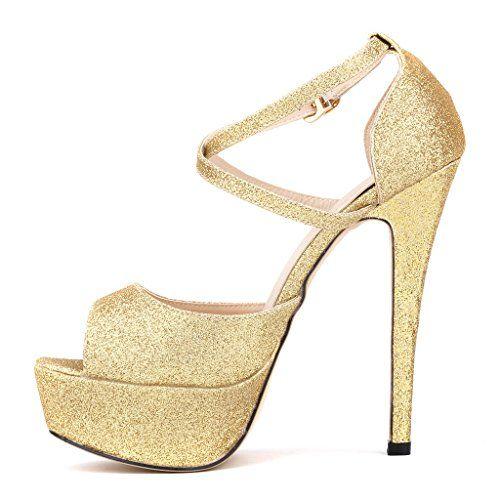 Special-90 Women's platform stiletto pump peep toe golden edge T-strap glitter pumps shoes