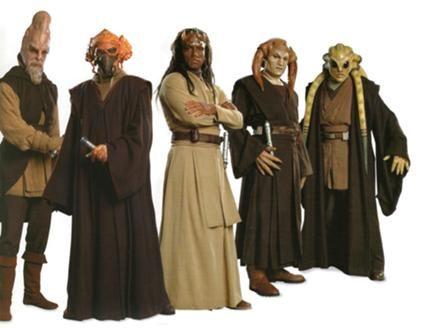 High Council members in 19 BBY—Ki-Adi-Mundi, Plo Koon, Agen Kolar, Saesee Tiin and Kit Fisto.