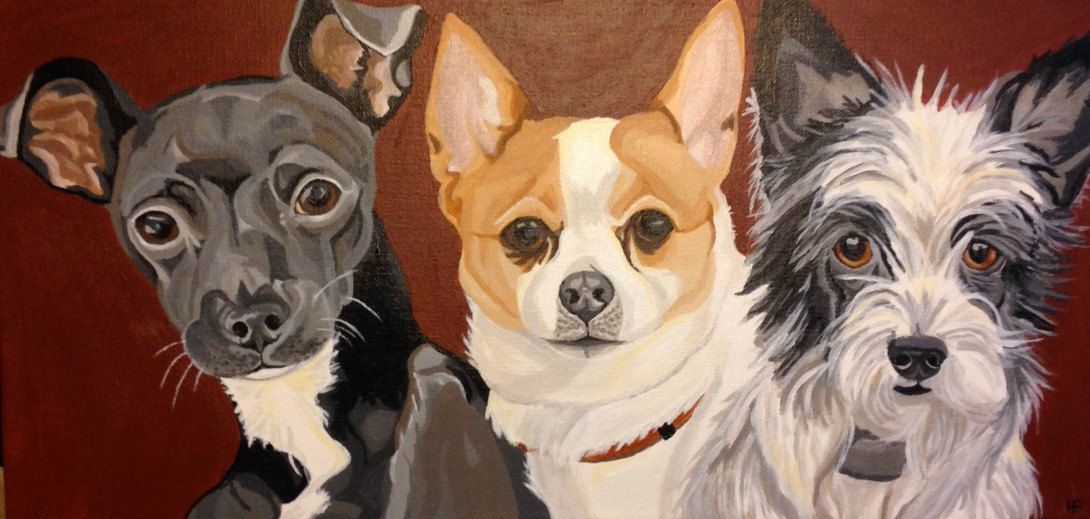 Custom Pet Portrait Pet Portrait Multiple Pet Portrait Dog