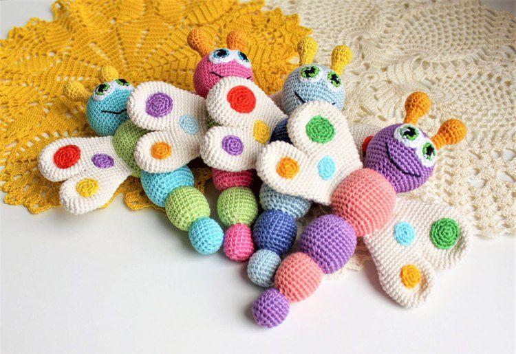 Mariposa patrón libre del traqueteo del bebé del ganchillo | muñucos ...