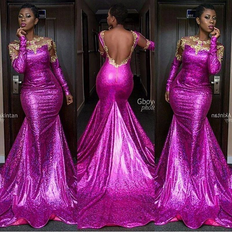 Click to Buy << Nigerian Evening Dress Lace Long Sleeve Sequin ...