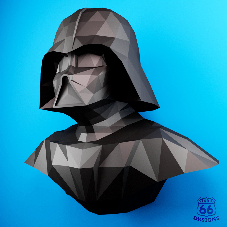 Darth Vader Helmet  Do It Yourself mask DIY printable  Star Wars mask Head Pdf download Paper Perakura 3D Pattern Polygon Darth Vader mask