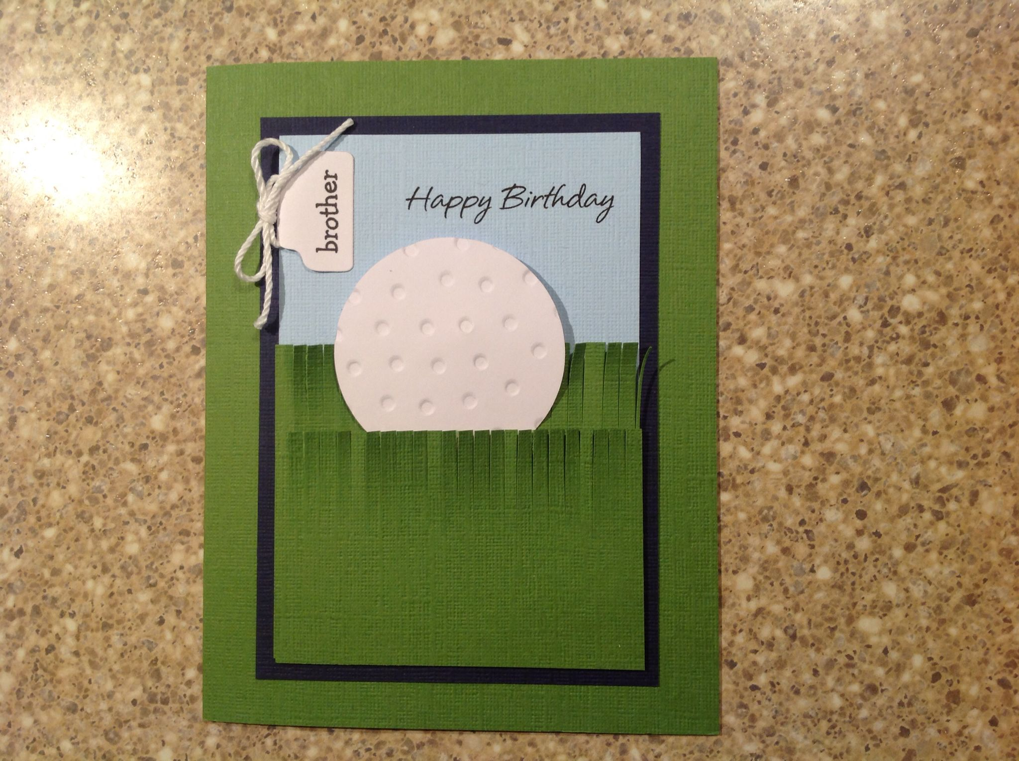 golf ball card using round embossed with swiss dot embossing