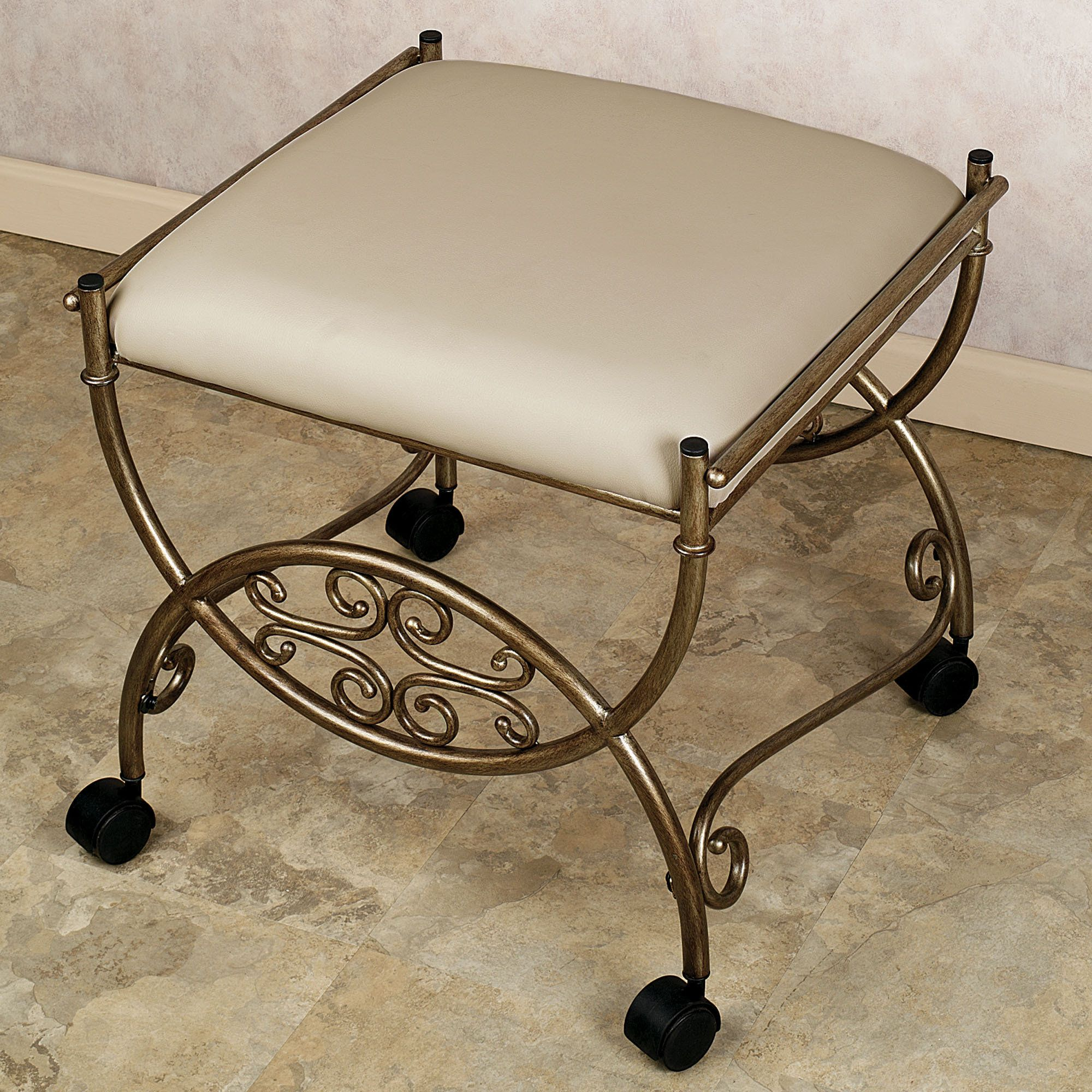 Vanity chairs for bathroom wheels. This one may be a bit too fancy