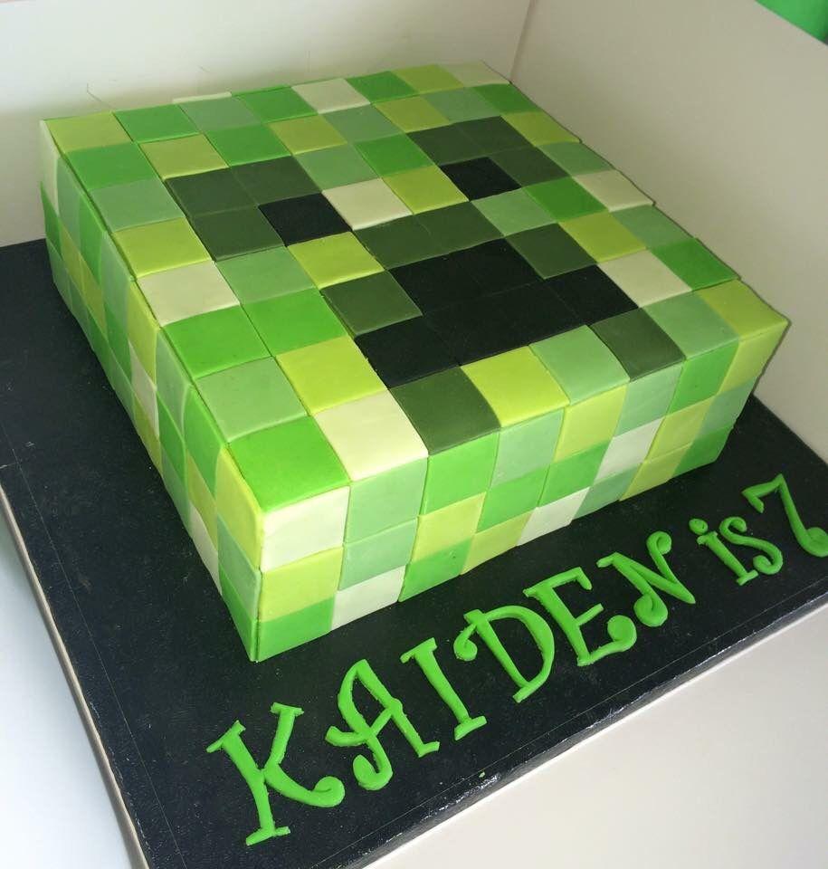 Brilliant Minecraft Creeper Head Birthday Cake Covered Whole Cake In Fondant Funny Birthday Cards Online Inifofree Goldxyz