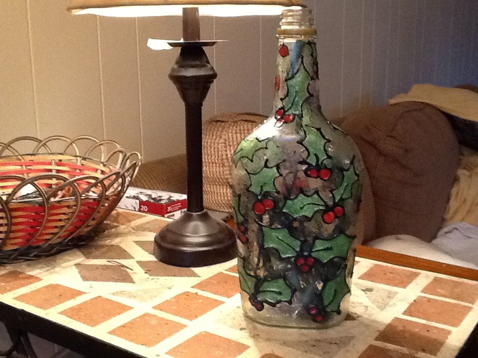 lighted wine bottle christmas theme crafted using gallery glass and 20 strand xmas lights