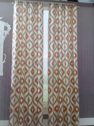 Nice CYNTHIA ROWLEY 2 WINDOW PANELS IKAT DRAPES GROMMET RUST GRAY WHITE 50x84 EA  NEW In Cynthia Rowley Curtains