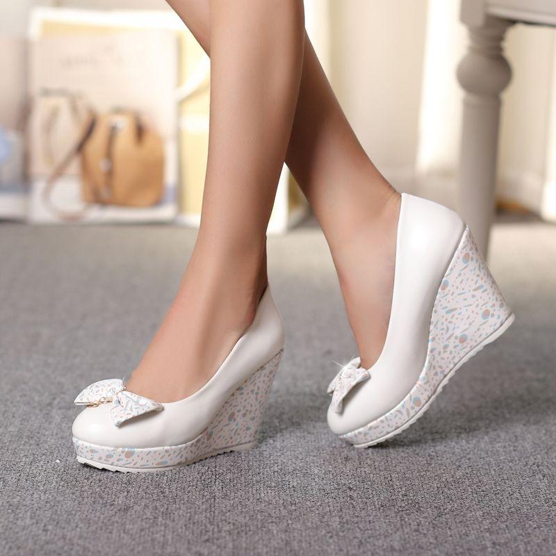 Le nuove 2016 donne fiocco rosa tacchi scarpe da sposa zeppe bianche pompe  della piattaforma delle