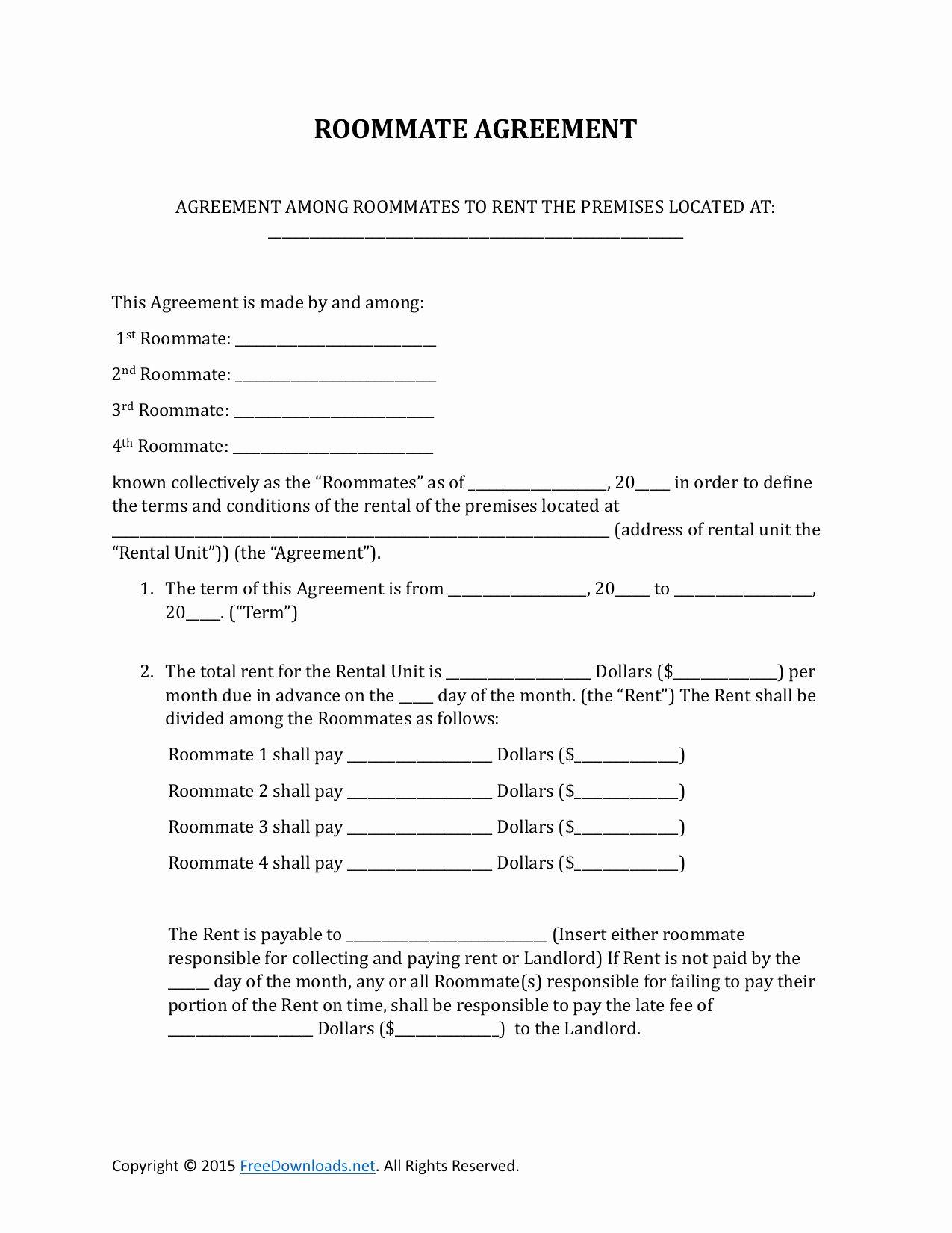 Roommate Rental Agreement Template Elegant Download