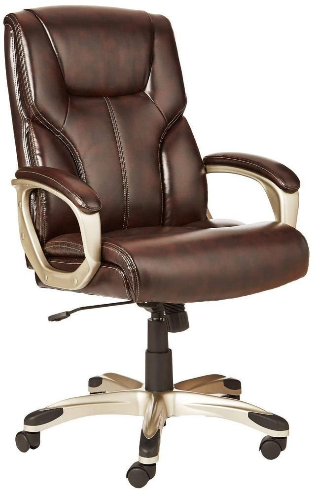 Executive Arm Chair Durable Leather Rolling High Back Padded Seat Furniture  Brow #ExecutiveArmChair #ExecutiveManagerialChair