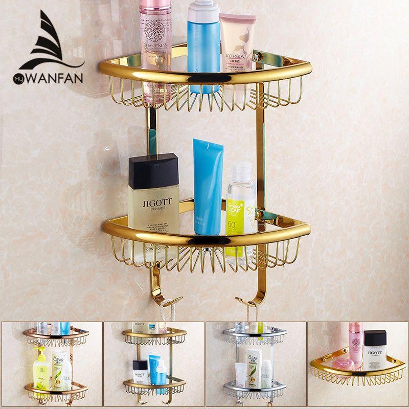 Bathroom Shelves Golden Brass Material With Robe Hook 2-Tier ...