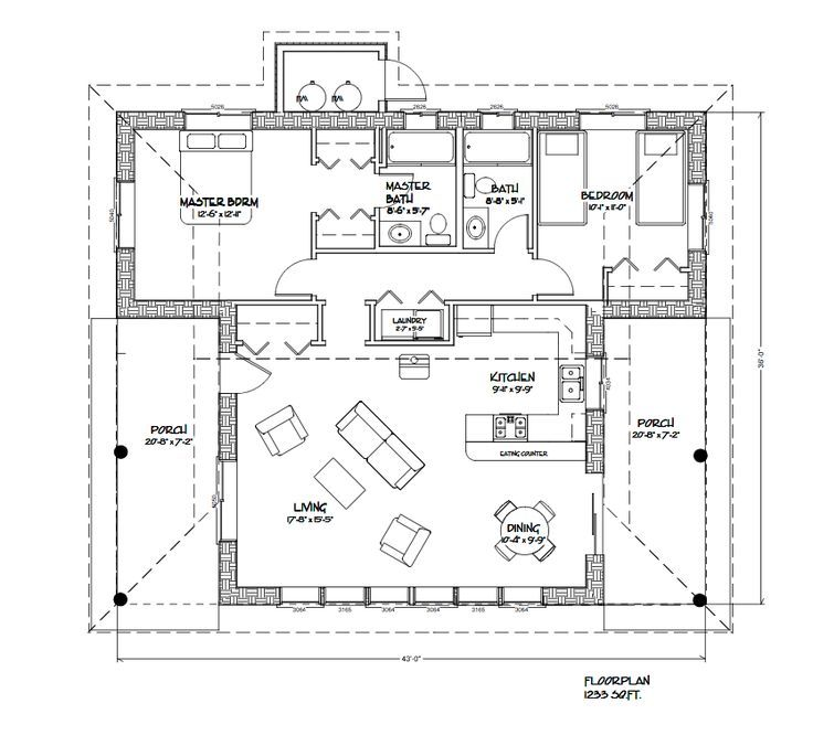 1233 Sq Ft Straw Bale Houseplan With 2 Bedrooms 2 Bath And 2 Covered Porches Small Floor Plans House Plans Floor Plans