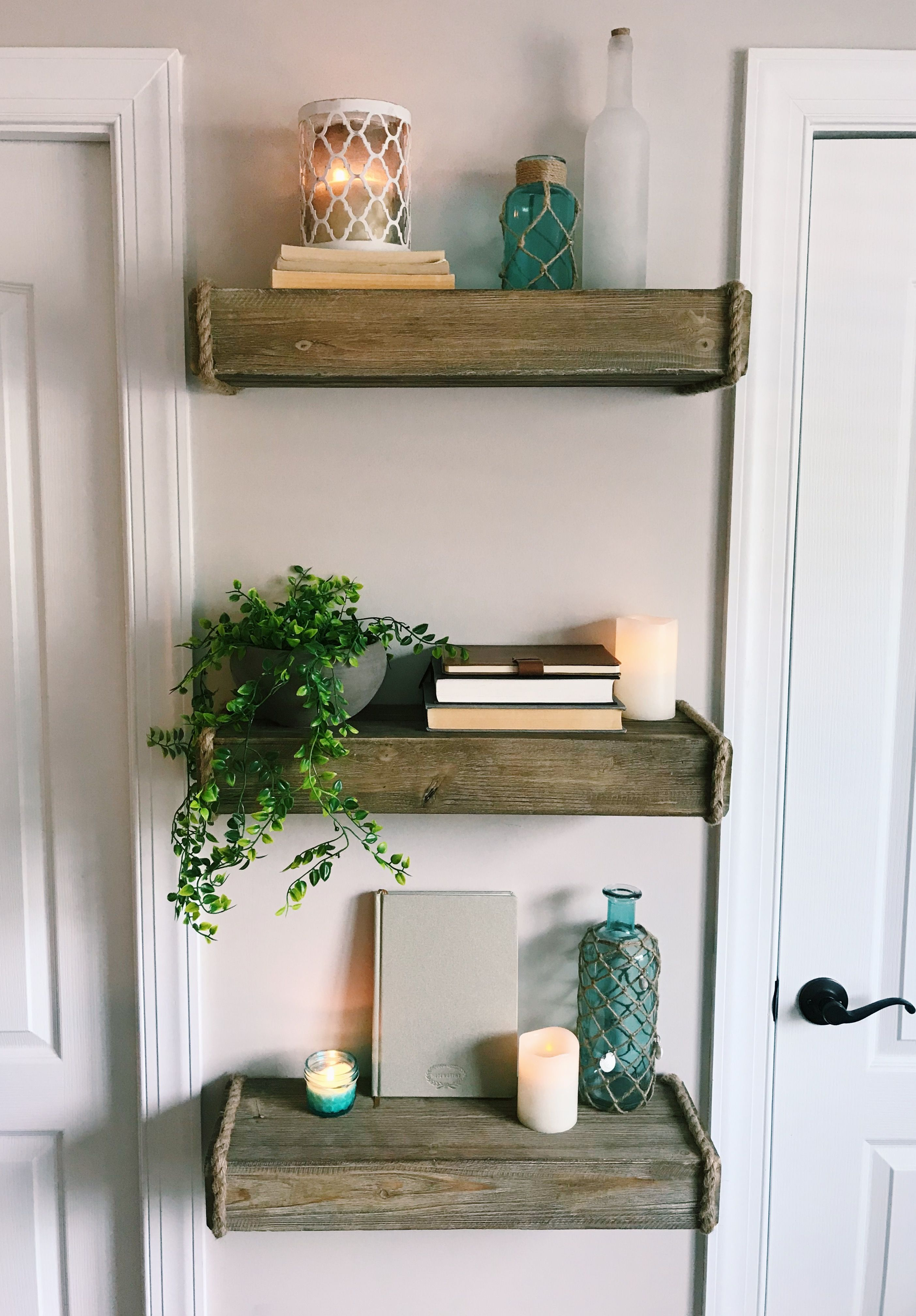 Rustic Fixer Upper Floating Shelves with Coastal Cottage ...