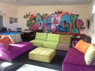 An Amazing Mix Of Javi Tapas Modules And Fabrics For A Vibrant Youth Club Youth Club Playroom Seating Youth Center