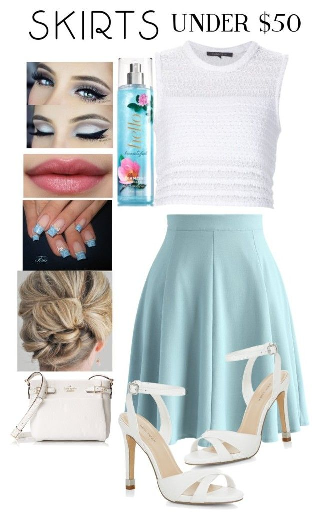 """""""Light blue skater skirt"""" by snowflakeunique ❤ liked on Polyvore featuring Chicwish, Thakoon, New Look, Kate Spade, under50 and skirtunder50"""