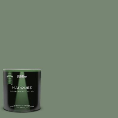 Behr Marquee 1 Qt 440f 5 Winter Hedge Semi Gloss Enamel Exterior Paint Primer 545304 The Home Depot In 2021 Green Exterior Paints Sage Green Paint Color Green Exterior House Colors
