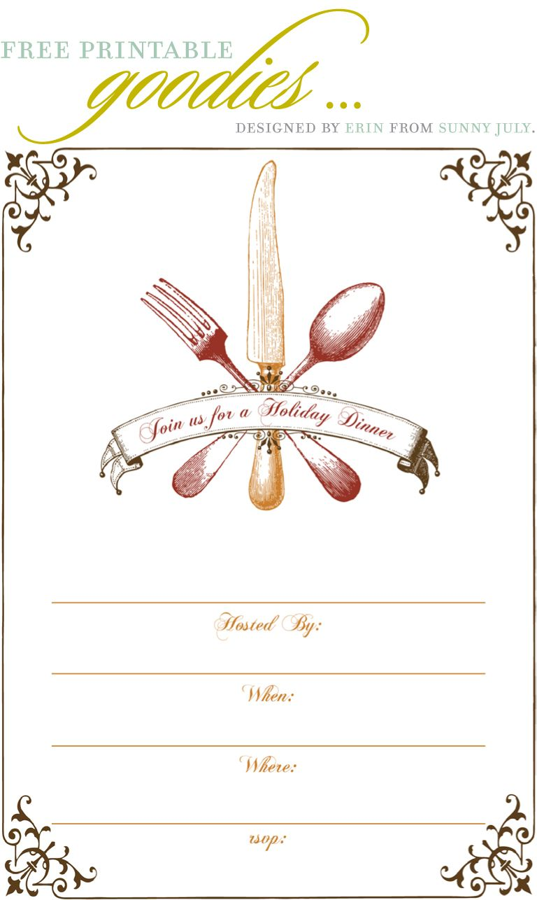 Free Printable Thanksgiving Dinner Invite · Dinner Party InvitationsDinner  Invitation TemplateChristmas ...  Christmas Dinner Invitation Template Free