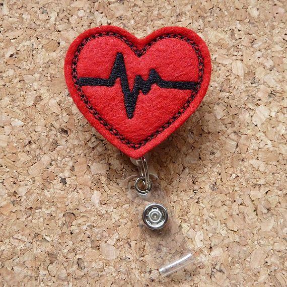 EKG rosso cuore Badge Reel - ID cardiaco Badge Reel - feltro Badge Reel - cordino - retrattile nome titolare - infermiere / medico lavoratori - 218