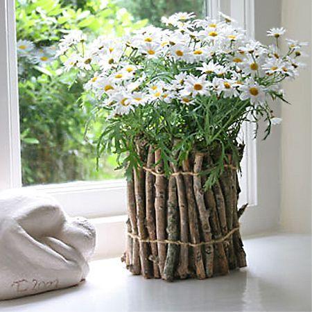 Unique flower pot or container ideas twigs | Garden Ideas .