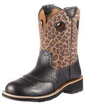 Women's Fatbaby Cowgirl Boot - Black Deertan/Leopard Print
