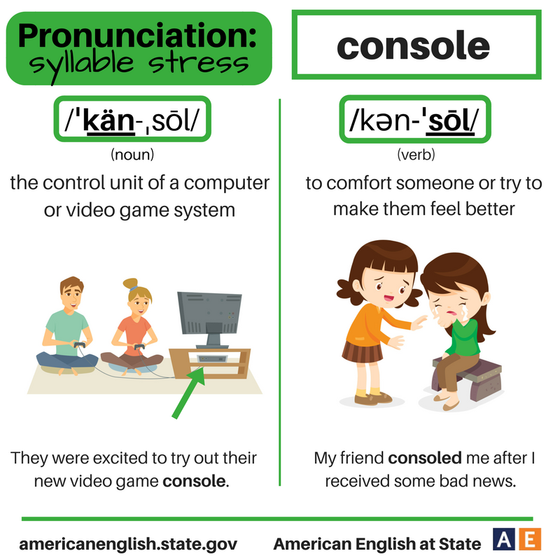 Pronunciation - syllable stress: Console | afise engleza
