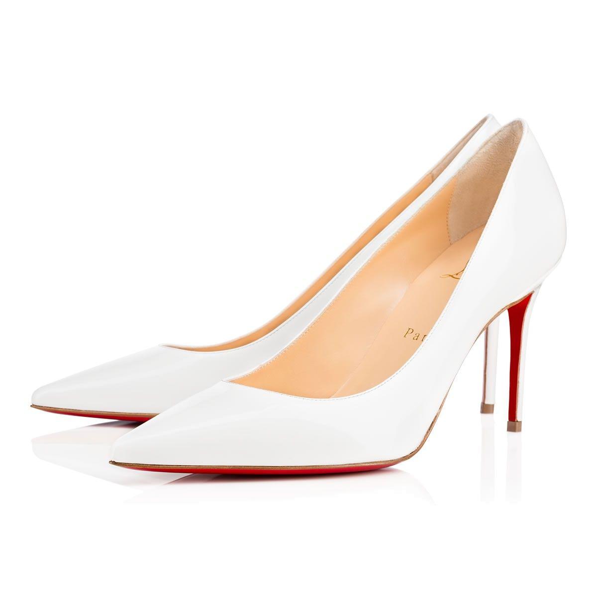 on sale 3c2a4 426de CHRISTIAN LOUBOUTIN Decollete 554 85 White Patent Leather ...