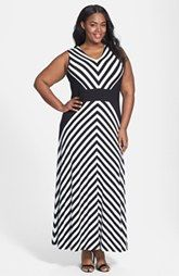 Calvin Klein vestido de la raya Maxi (Plus Size)