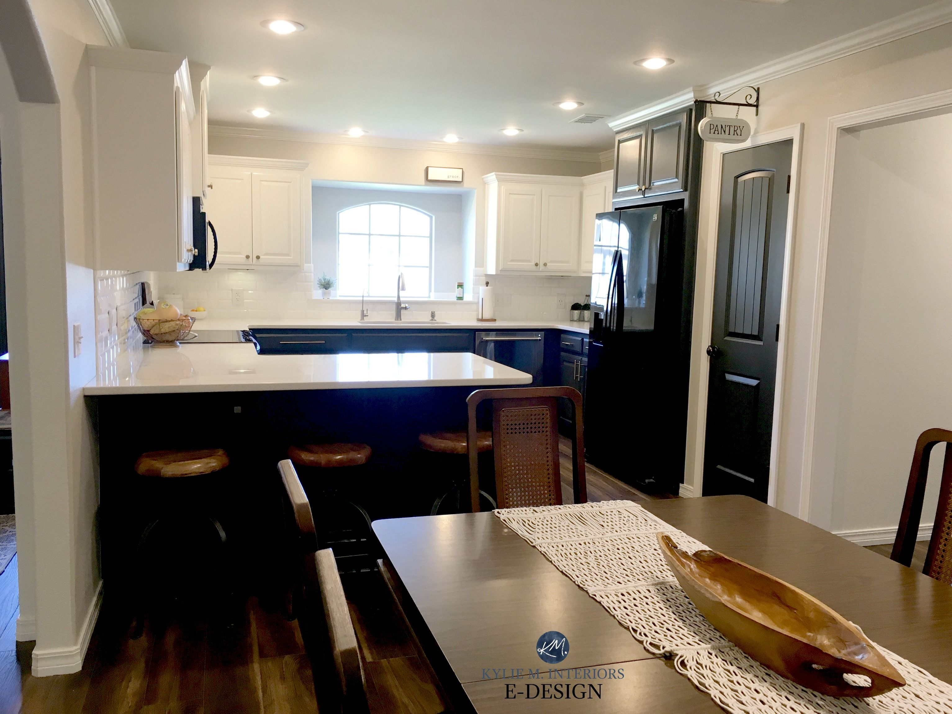 Best Kitchen Cabinets Painted Pure White And Cyberspace Lowers 640 x 480