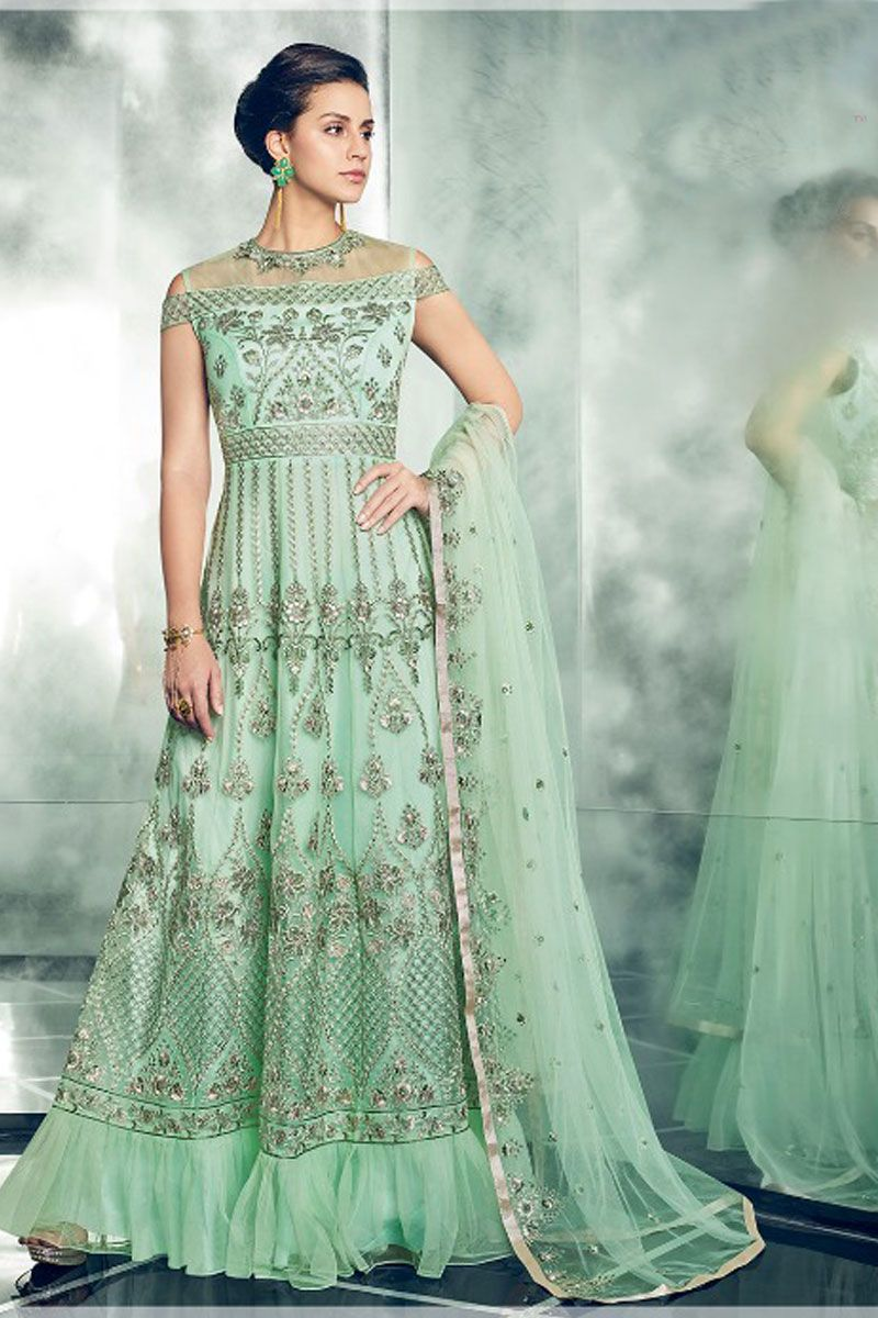 440f6dd5be Green-Wedding-Indian-Wear-Embroidered-Net-Designer-Floor-Touch-Anarkali-Suit -With-Net-Dupatta-30003-13619 Catalog No : 4243 WWW.LKFABKART.