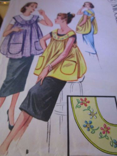 Vtg-1957-McCalls-MATERNITY-Apron-Pattern-2197-Full-Apron-with-Transfer