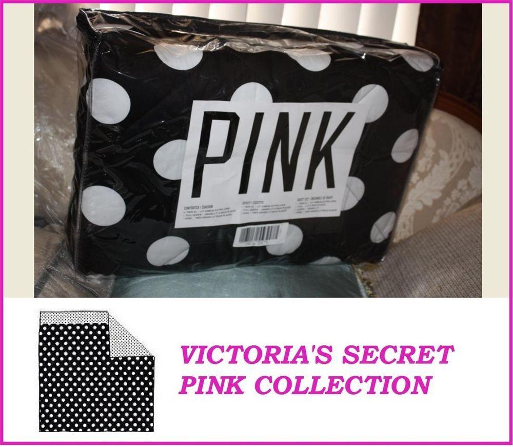 Victoria's Secret Pink COLLECTION BLACK polka dots COMFORTER reversible TWIN XL #VictoriasSecret #comforter