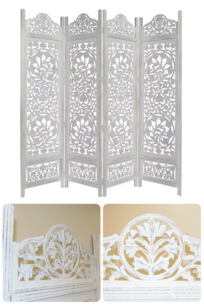 d28ae741edf28 Antique Room Divider Wooden 4 Panel Privacy Screen Folding Carved Wood  Finish  Oriental