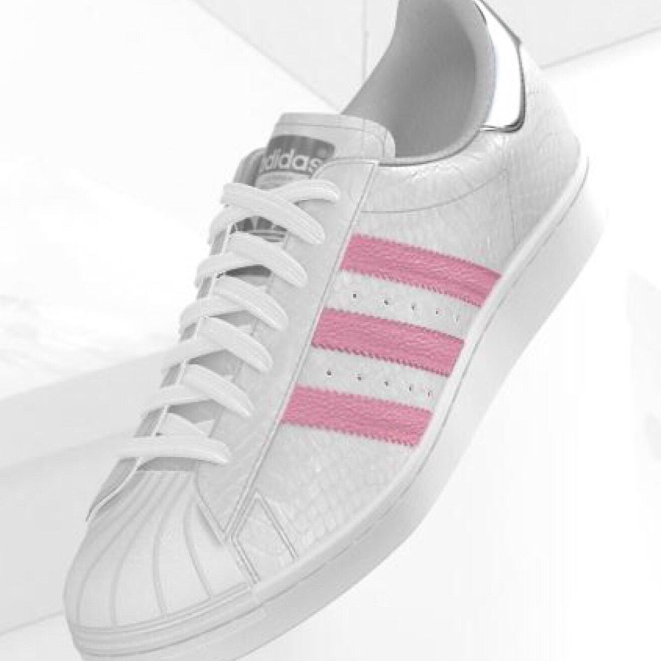 mi adidas Superstar white croco pink stripes metallic silver