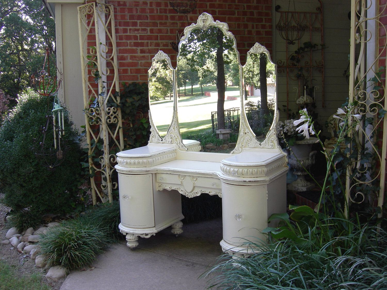 Us vanity dresser shabby ornate chic french white triple mirror