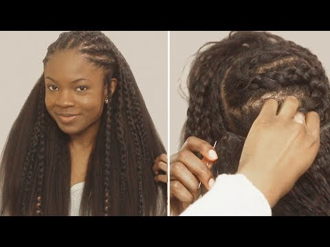 How To Fulani Braids With Sew In Weave In Back Tutorial Youtube Cornrows With Weave Braids With Weave Half Cornrows