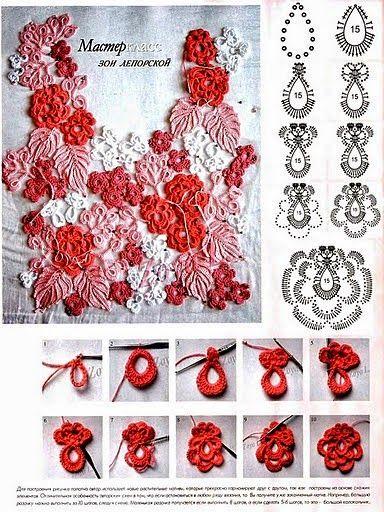 Flores y hojas en crochet irlandés - paso a paso y diagramas ...