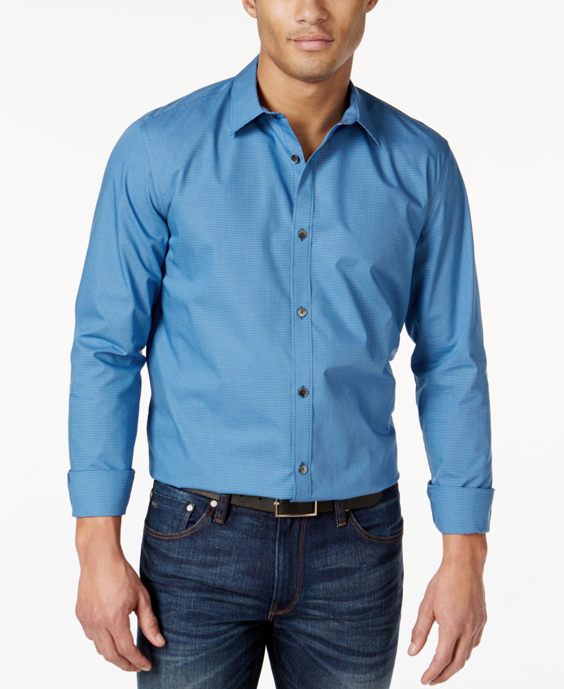 Calvin Klein Mini-Check Poplin Long-Sleeve Shirt