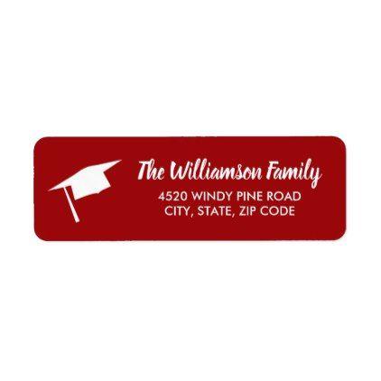 graduation cap custom color return address label return address