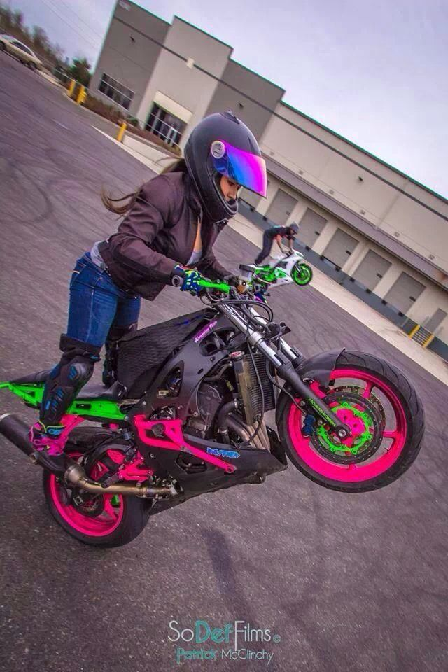 Street Bike Girl Sport Bike Rider Stunt Bike Motorcycle