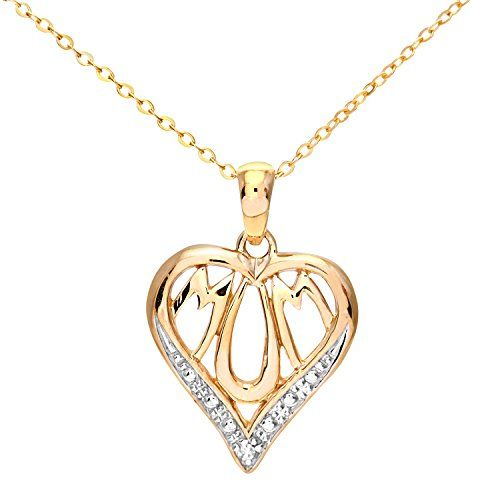 Naava Women's 9 ct White Gold 0.02 ct Diamond Necklace s0rH1LxG