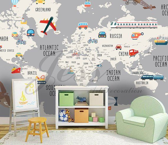 Nursery Kids Room Vehicle World Map Removable Wallpaper
