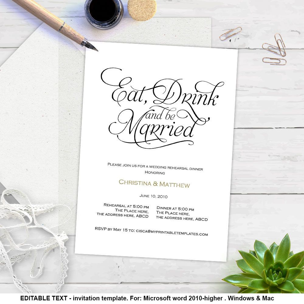 Dinner Invitation Template Eat Drink And Be Married Printable Rehearsal Dinner Invitations .