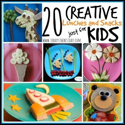 20 Creative Lunches and Snacks Just for KIDS, super fun and easy ideas! @danidavis08 #creativesnacking #lunching